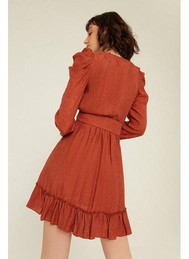 Rue Kemer Detaylı Kruvaze Elbise Kiremit